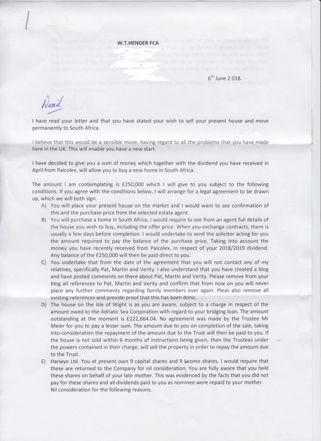 Dad letter page 1 redacted